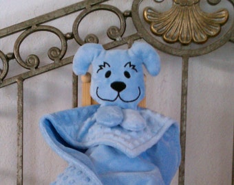 Personalized Minky Snuggle Pal Blue Lovey for Baby