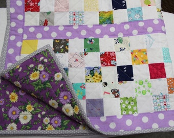Free Domestic Shipping BabyToddler Crib Quilt in a Scrappy Vintage Style