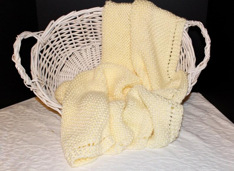 Soft Cream Hand Knit Baby Blanket image 0