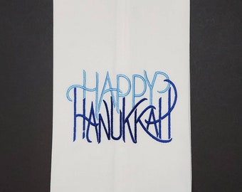 Happy Hanukkah Embroidered Cotton Dish Towels