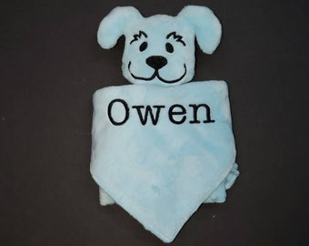 Personalized Minky Snuggle Pal Aqua Puppy Lovey for Baby