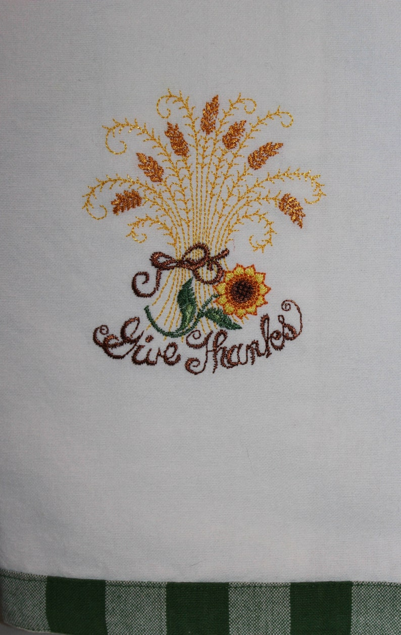 Thanksgiving Give Thanks Embroidered Kitchen Towel image 0