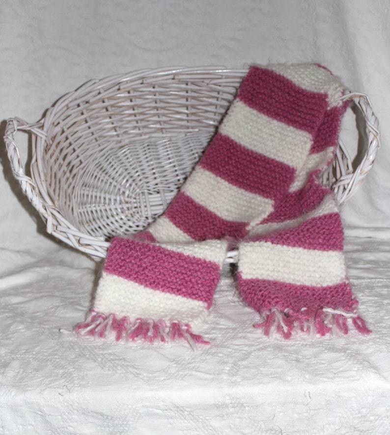 Angel Hair Hand Knit Scarf in Bright Pink and White Stripes image 0
