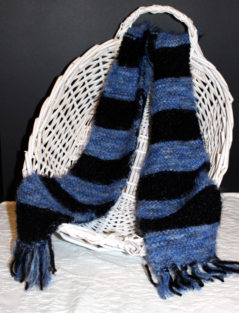 Angel Hair Hand-knit Black and Blue Striped Scarf image 0
