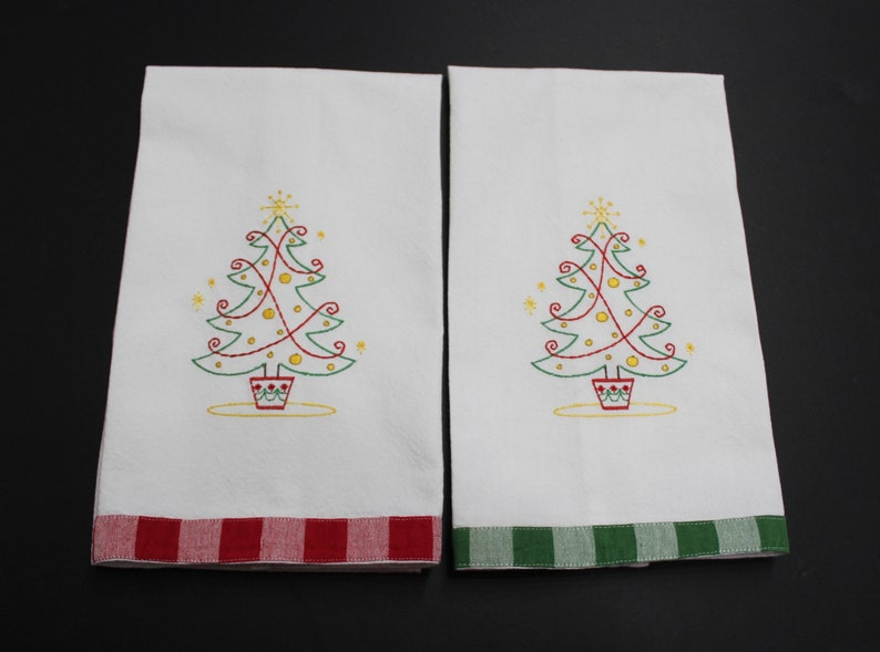 Christmas Kitchen Towel with Christmas Tree and Red or Green image 0