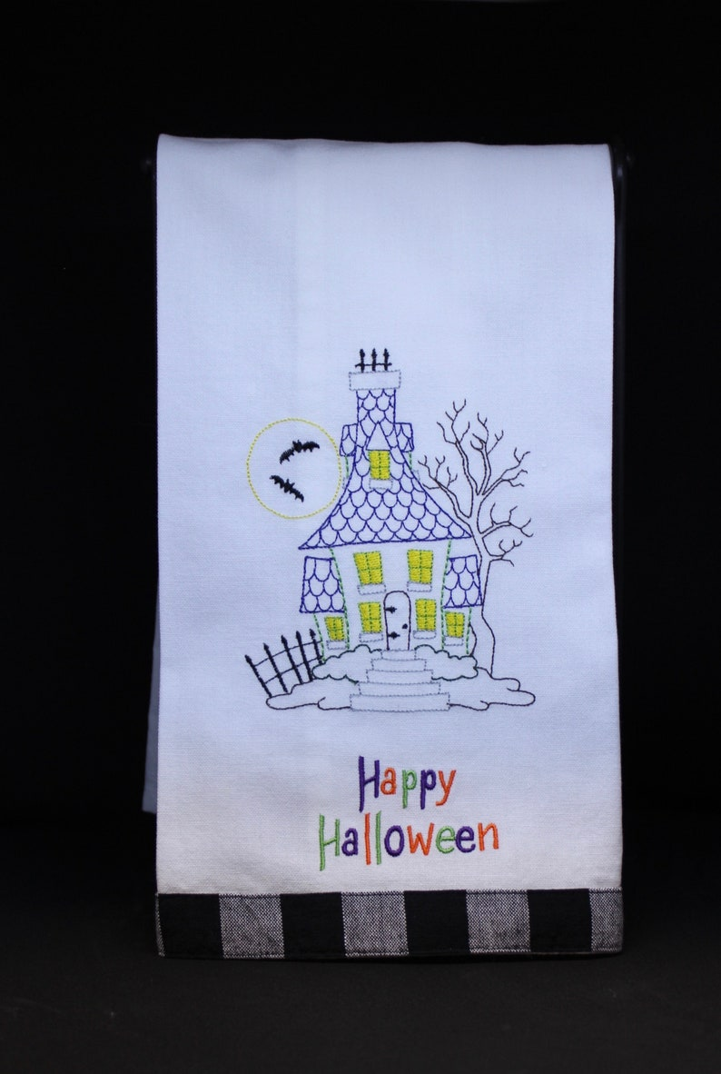 Halloween Haunted House Kitchen Towels image 0