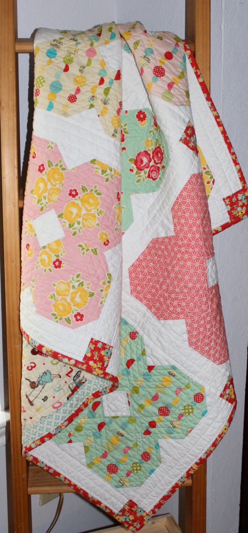 Free Domestic Shipping Baby Girl Crib Quilt in a Sweet Vintage Style