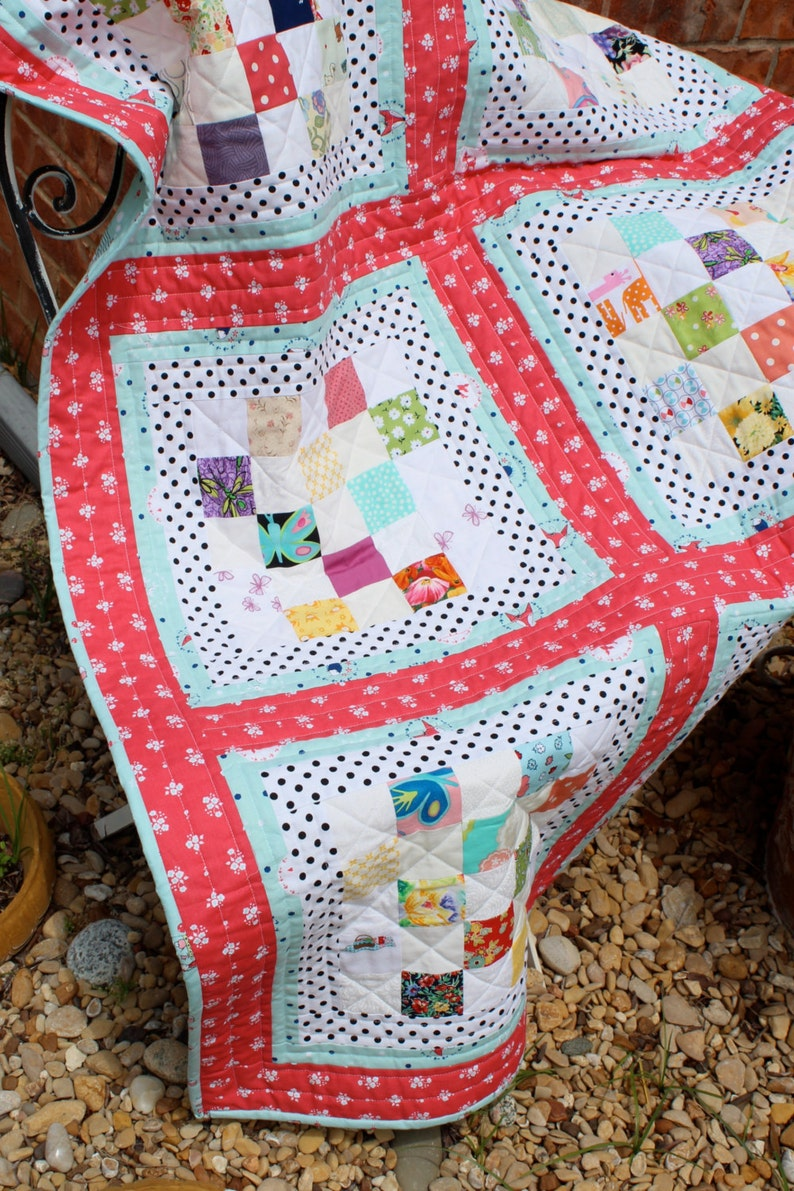 Baby/Toddler  Crib Quilt in a Scrappy Vintage Style image 0