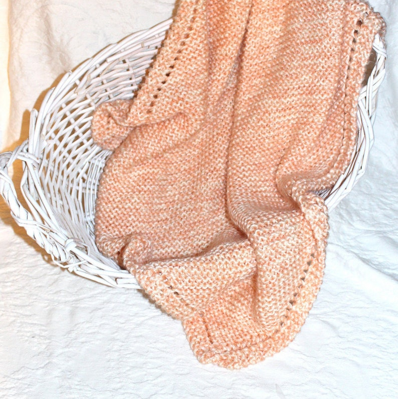 Soft Peach and Cream Hand Knit Baby Blanket image 0