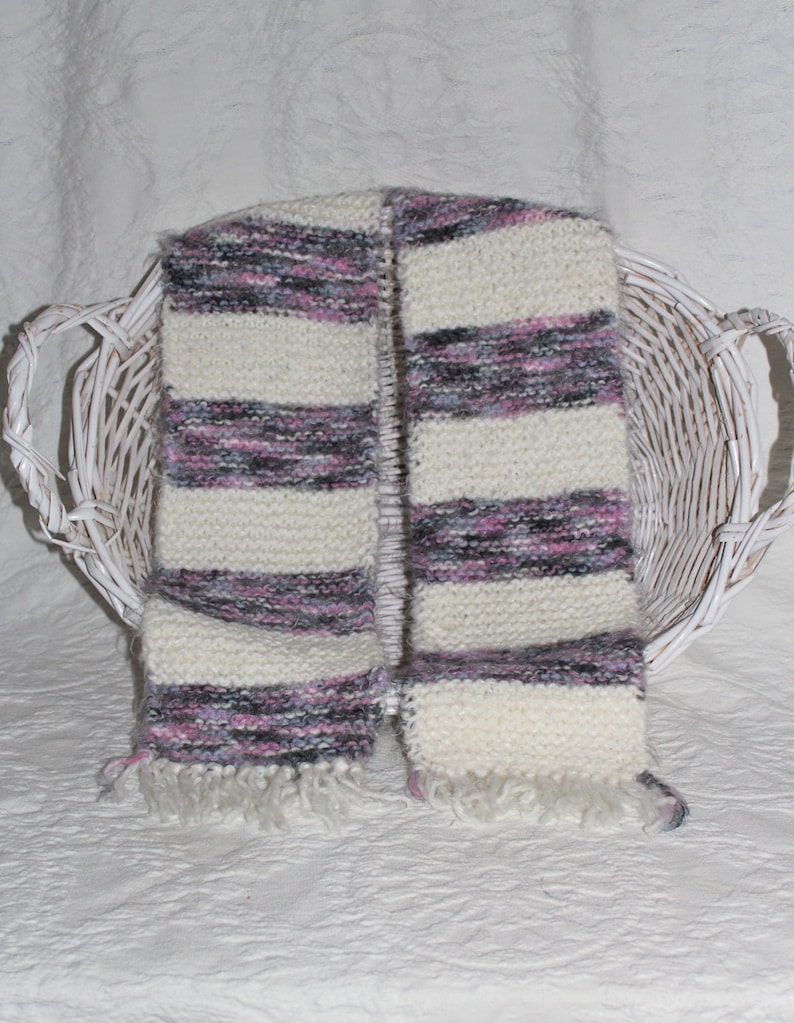 Angel Hair Gray Pink and White Striped Scarf image 0