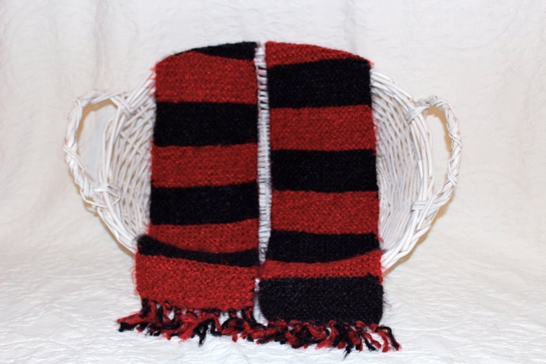 Coming Soon  Angel Hair Red and Black Striped Scarf image 0