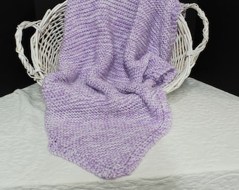 Soft Lavender and White Hand Knit Baby Blanket