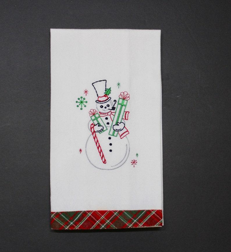 Christmas Kitchen Towel with Retro Snowman image 0