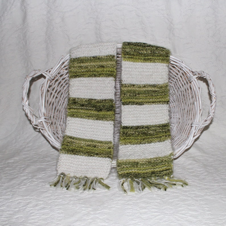Angel Hair Hand Knit Scarf in Bright Green and White Stripes image 0