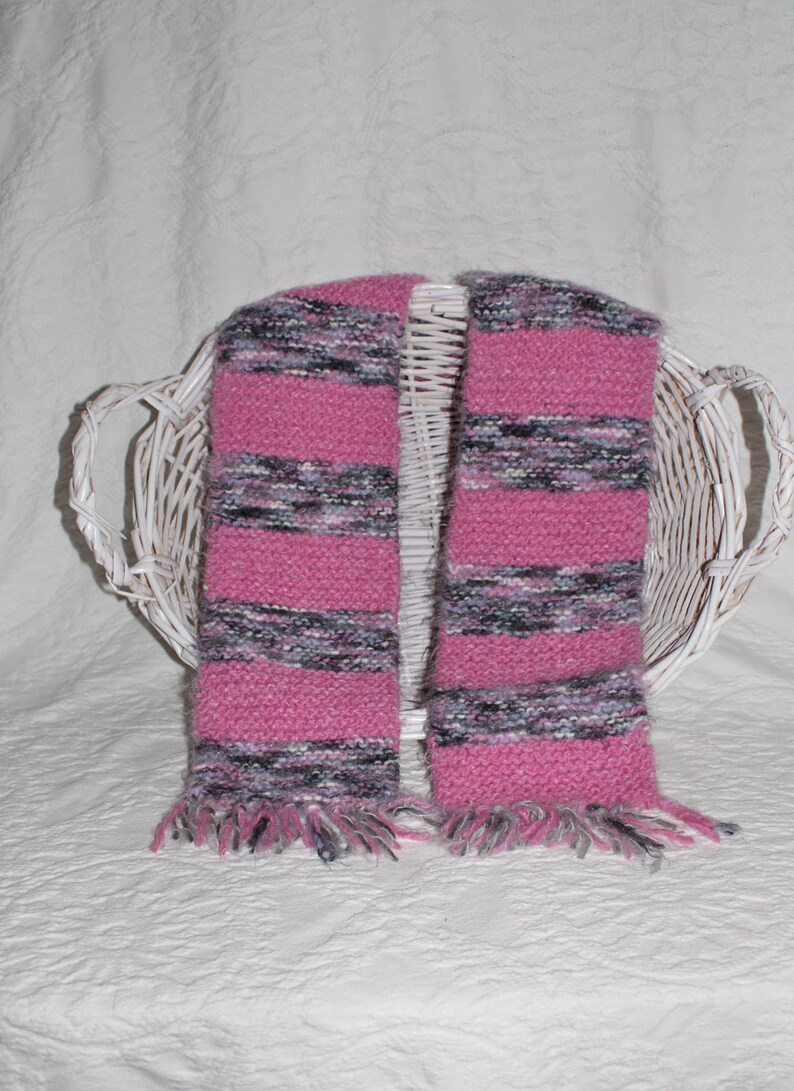 Angel Hair Gray and Pink Striped Scarf image 0