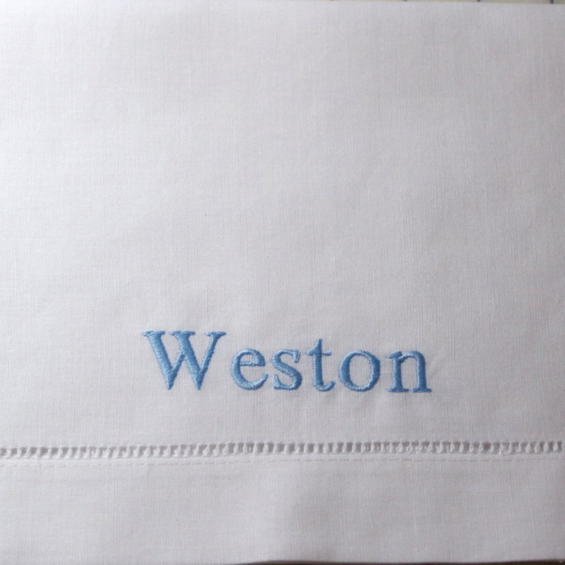Personalized Hemstitched Linen Baby Pillowcase image 0