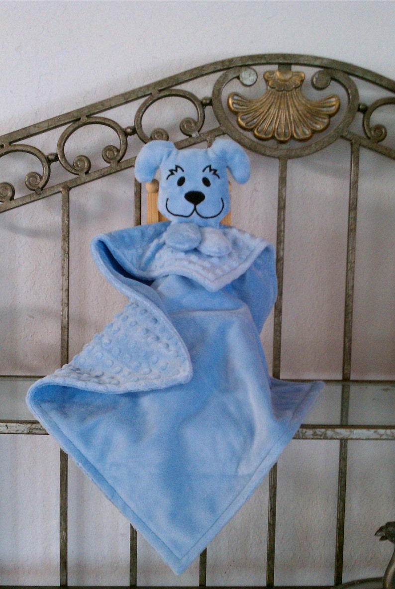 Minky Snuggle Pal Blue Puppy Lovey for Baby image 0
