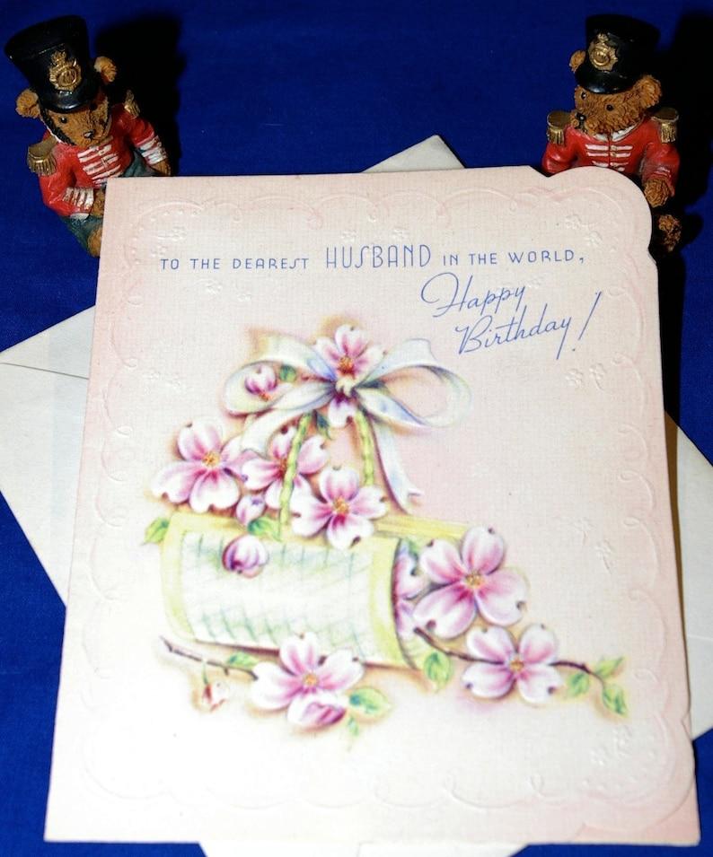 Vintage Happy Birthday Dearest Husband Embossed Greeting Card