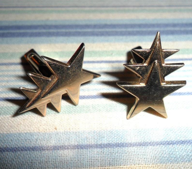 Vintage Signed Swank Gold Tone Triple Shooting Star Three image 0