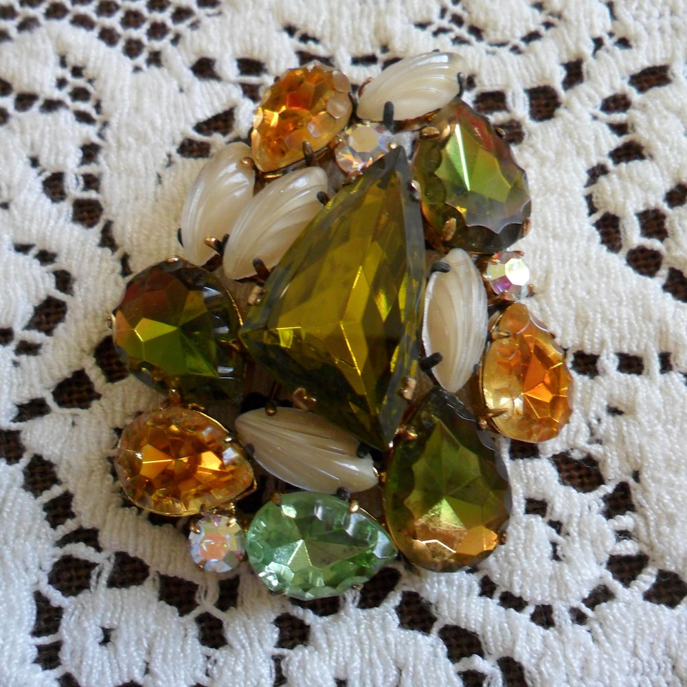Large Vintage Colorful Multi-Faceted Cut Glass Crystal & image 0