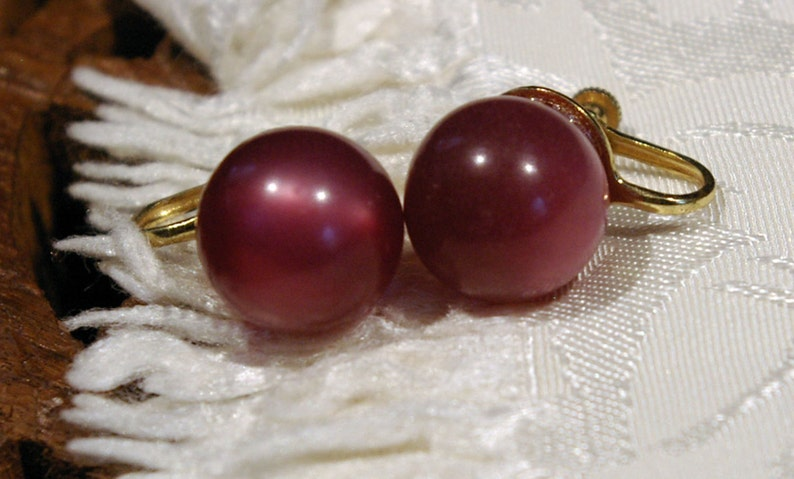 Vintage 1950s Earrings Large Round Deep Rose Pink with a image 0