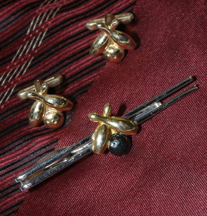 Vintage Signed Hickok Ten Pin Bowling Jet Black & Gold Mens image 0
