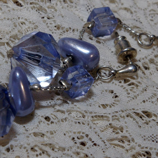 Vintage Lilac Blue Bead Drop Earrings on a Silver Tone Chain image 3