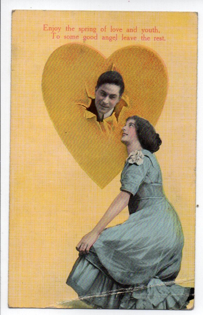 Antique Edwardian Romantic Color Postcard Theochrom Greeting image 0