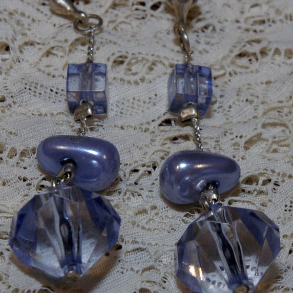 Vintage Lilac Blue Bead Drop Earrings on a Silver Tone Chain image 1