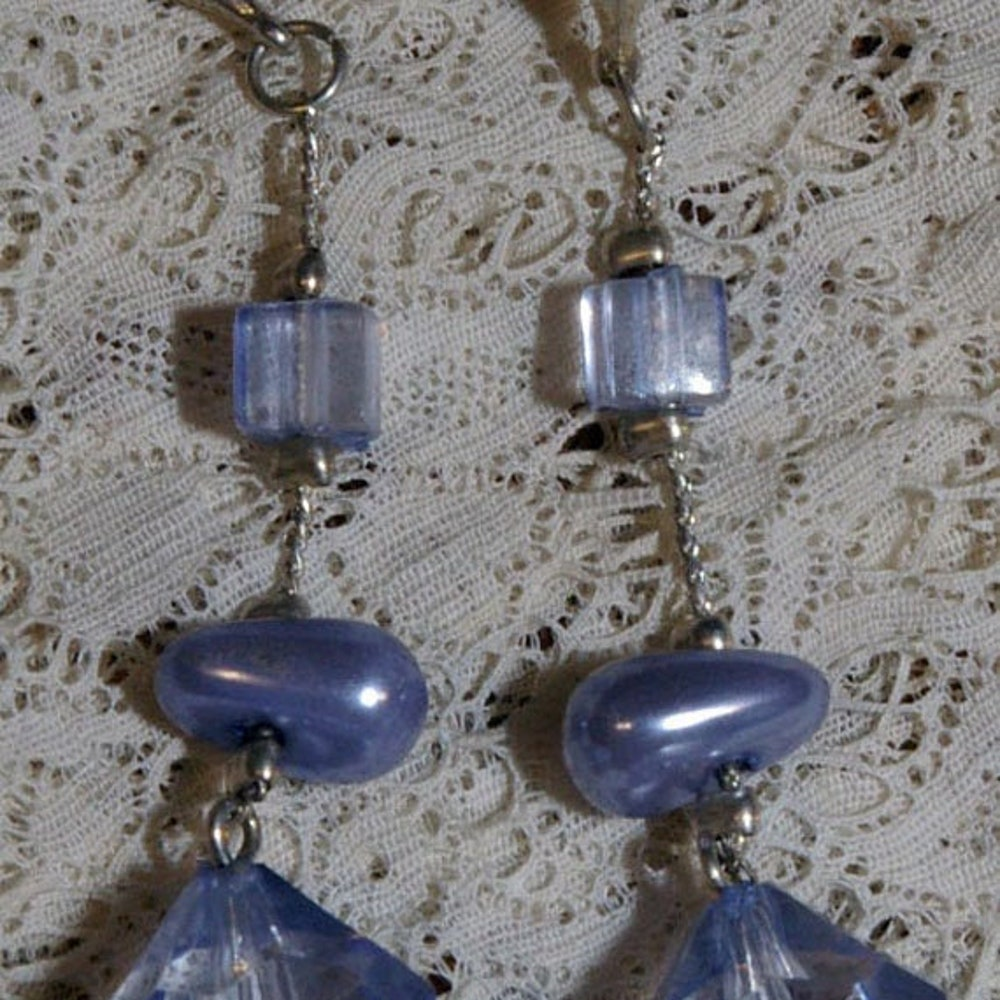 Vintage Lilac Blue Bead Drop Earrings on a Silver Tone Chain image 0