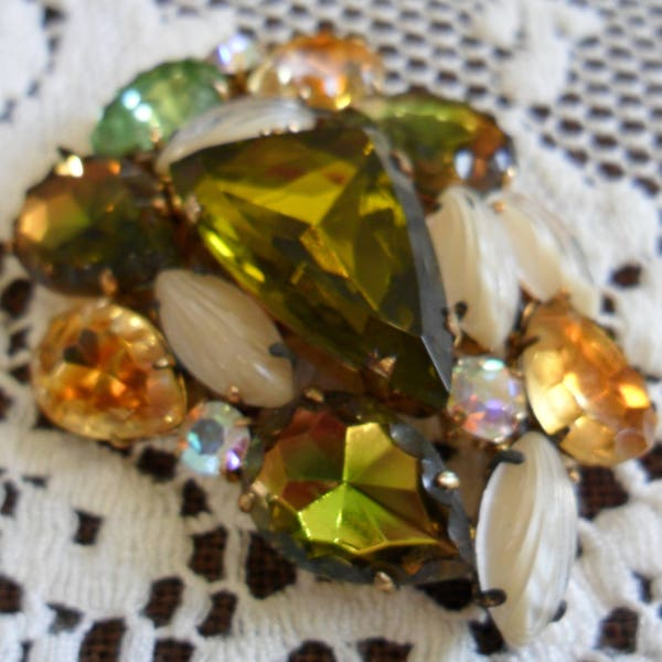 Large Vintage Colorful Multi-Faceted Cut Glass Crystal & image 3