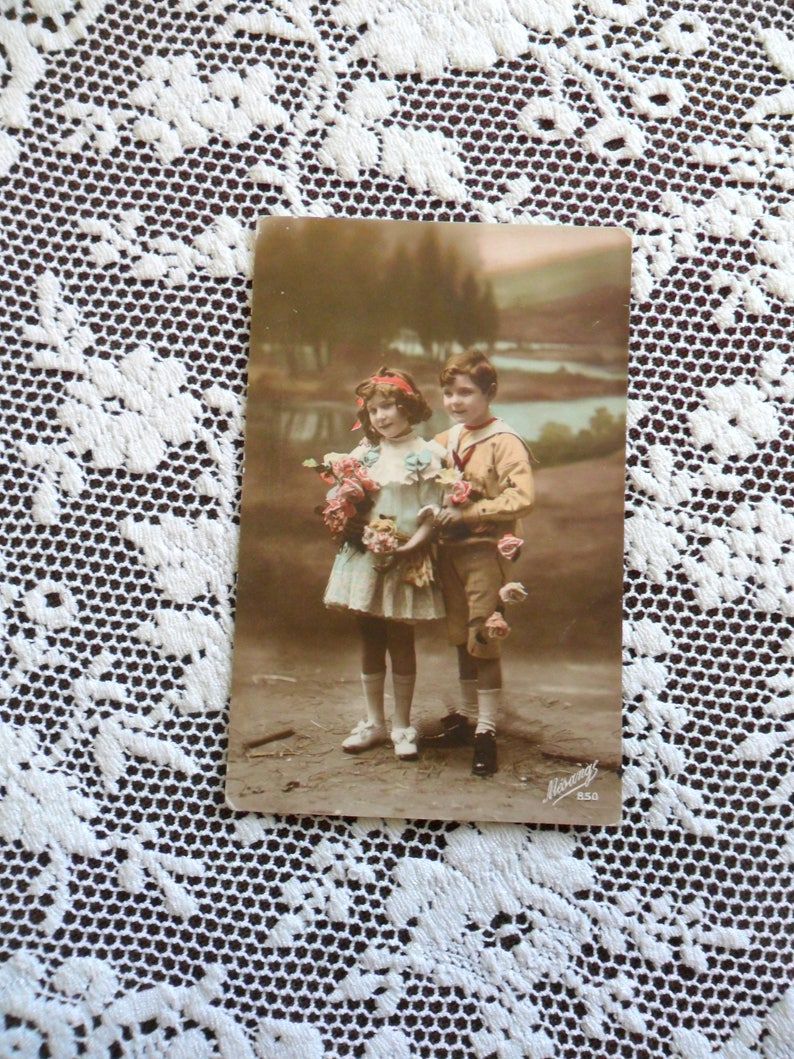 Antique Sepia with Color Photo Postcard 1900s Young Children image 0