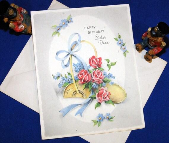 Vintage Happy Birthday Sister Dear Greeting Card
