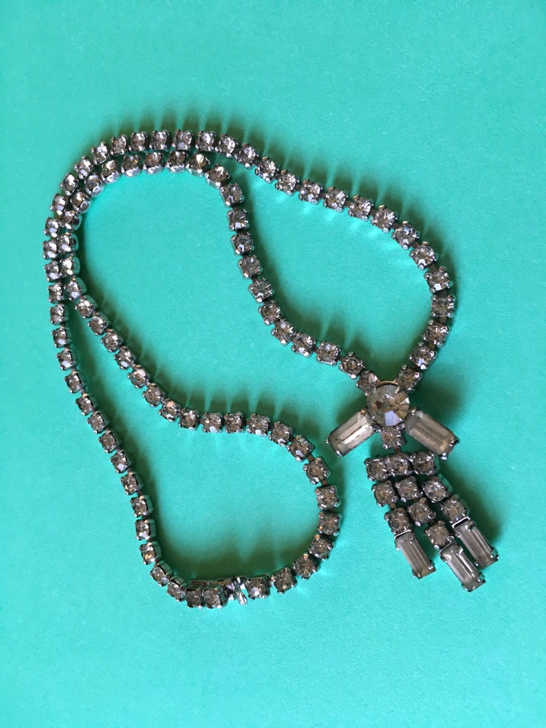 Vintage Sparkling Rhinestones Diamonte Choker Pendant Necklace image 0