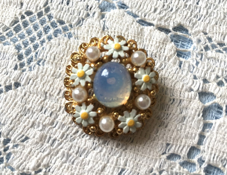 Vintage Cabochon Moonstone Center with Enamel Daisy Flowers image 0