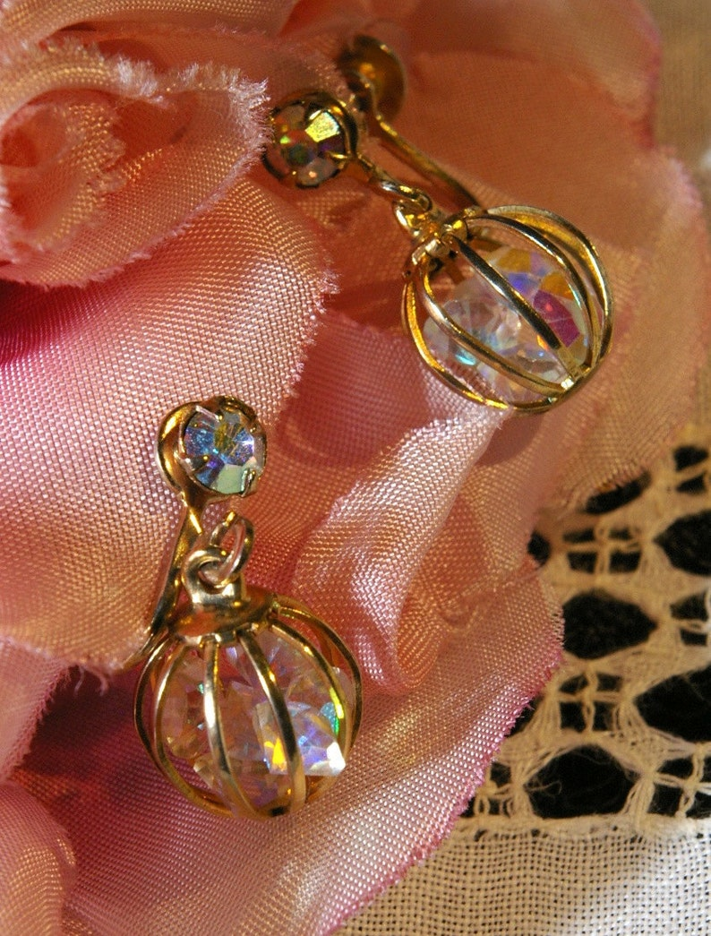 Vintage AB Aurora Borealis in a Cage Crystal Drop Earrings image 0