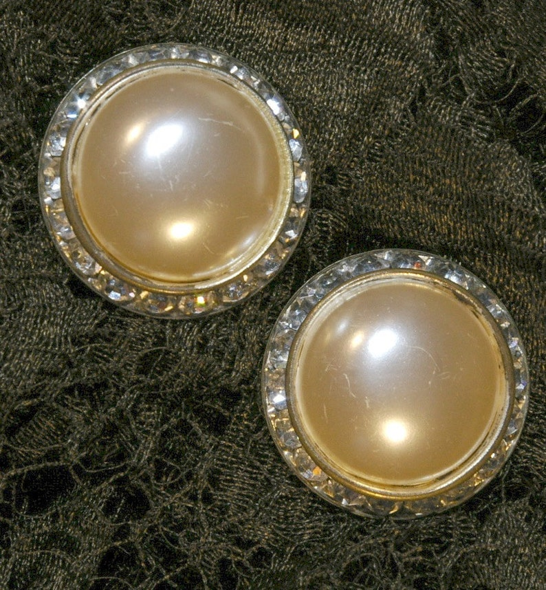 Vintage 1950s Large Ivory Pearl Cabochon with Rhinestones image 0