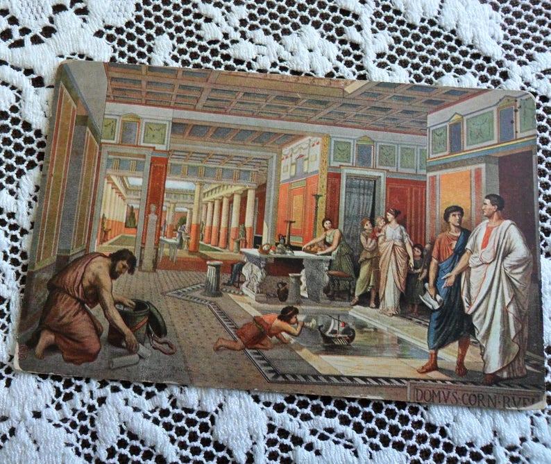 Antique Vintage Old Postcard Interior of a Roman House German image 0