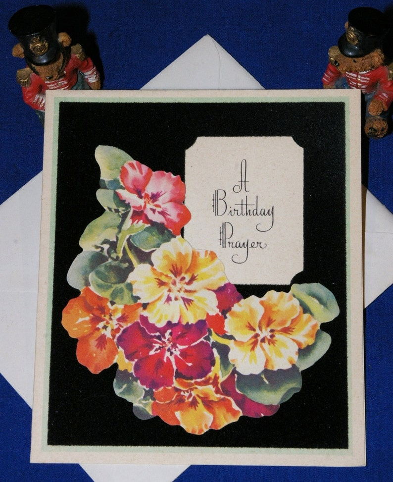 Vintage Happy Birthday Die Cut Flowers Greeting Card & Envelope 1940s 1950s  Unused