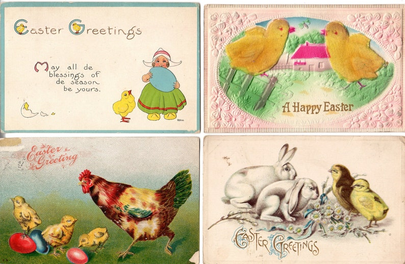 4 Vintage Antique Embossed Easter Postcards with Chicks image 0