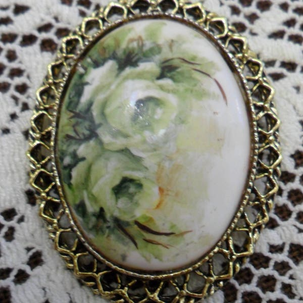 Vintage White Roses on Milk Glass Pin Brooch 1970s Gold Tone image 1
