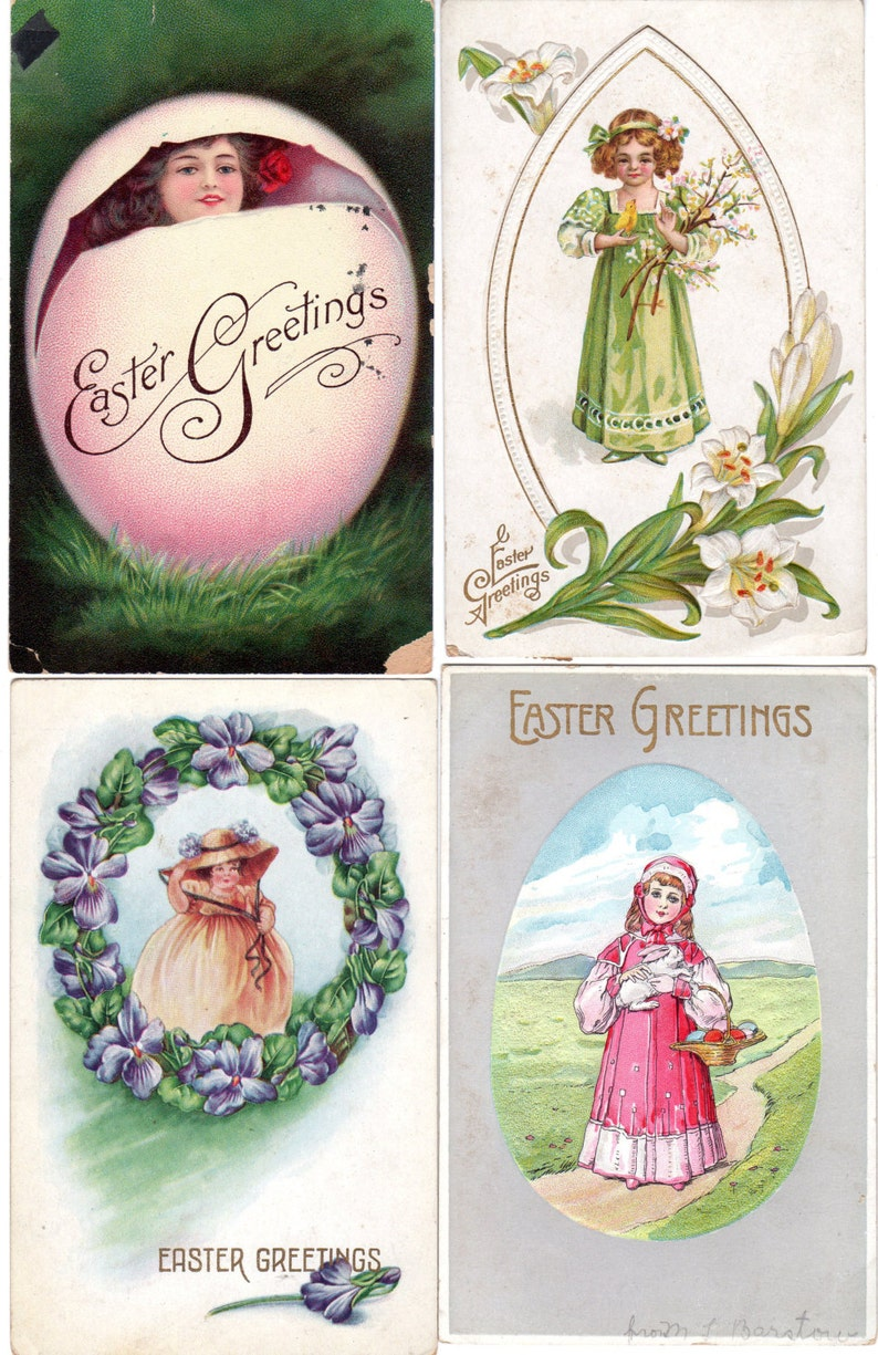 Lot of 4 Vintage Antique Embossed Easter Postcards with Girls image 0