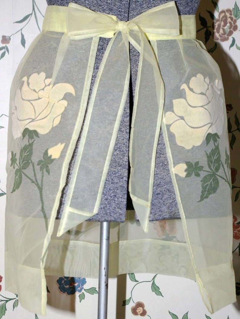Vintage Yellow Sheer  Bellmanized Half Apron with Velour image 0