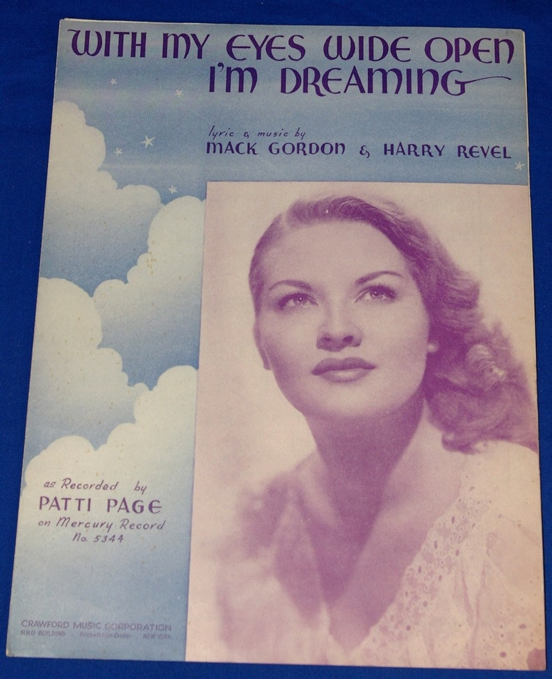 Vintage 1934 With My Eyes Wide Open I'm Dreaming Sheet image 0