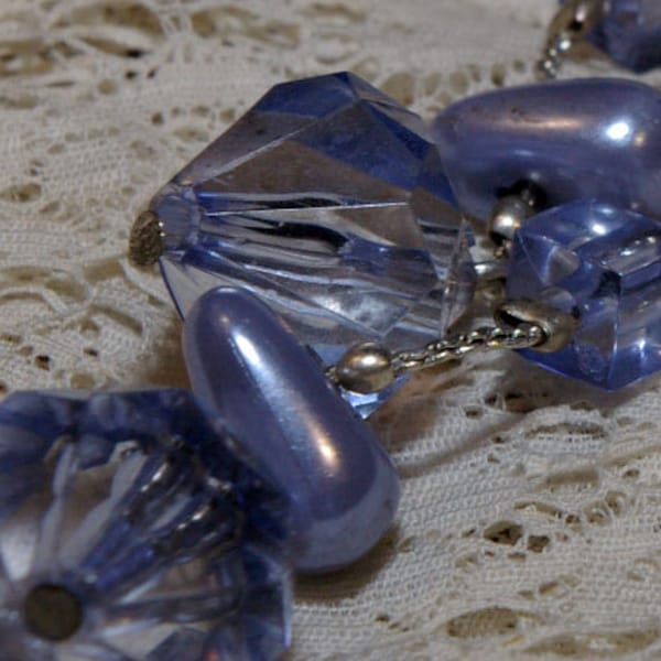 Vintage Lilac Blue Bead Drop Earrings on a Silver Tone Chain image 2