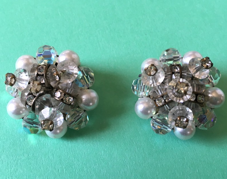 Vintage Sparkling AB Crystals with Clear Rhinestones & White image 0