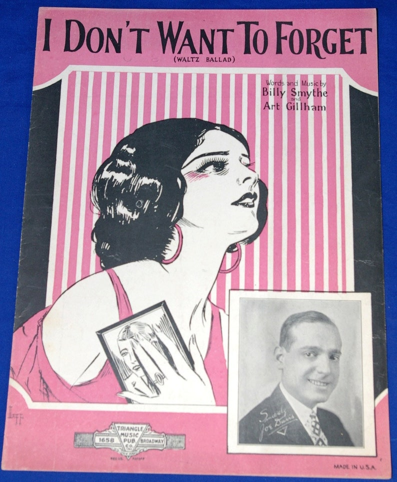 Vintage 1926 I Don't Want To Forget Sheet Music Sydney image 0