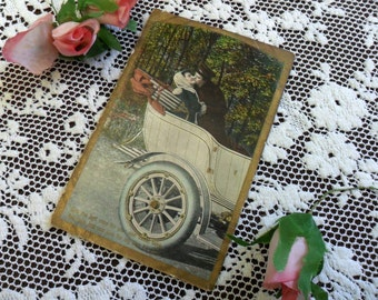 Antique Edwardian Romantic Color Postcard 1900s E L Theochrom Greeting Card 1910 Kiss Me Woman & Man Valentine Lovers Kissing in a Car Photo