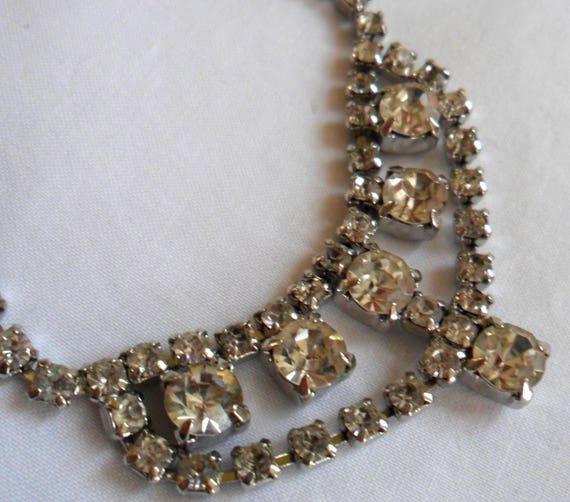 Vintage Sparkling Clear Rhinestones Diamonte Choke