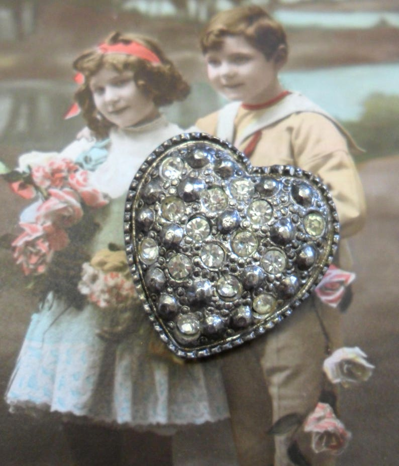 Vintage Sparkling Clear Rhinestones in a Heart Shaped Silver image 0